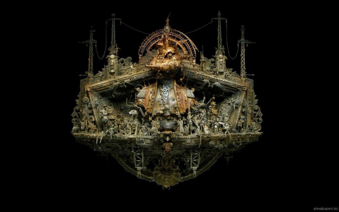 Kris Kuksi Art Sculptures dark       y wallpaper