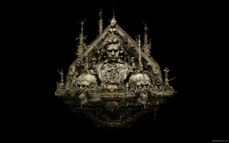 Kris Kuksi Art Sculptures dark p wallpaper