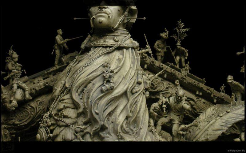 Kris Kuksi Art Sculptures dark d wallpaper