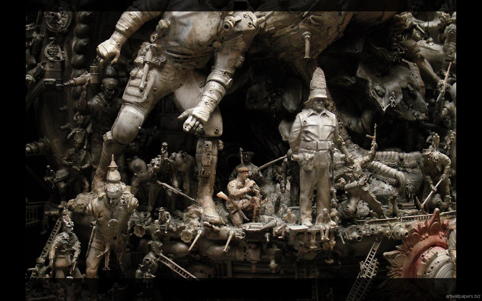 Kris Kuksi Art Sculptures dark sci-fi steampunk c ...