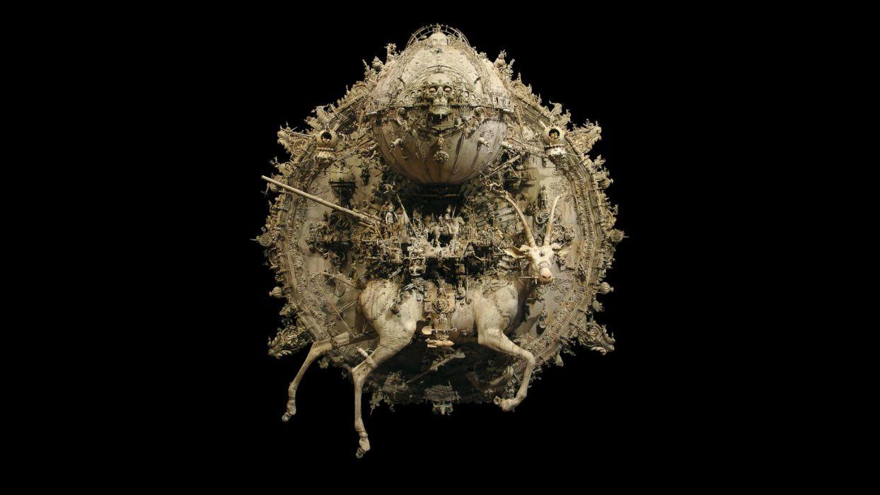 Kris Kuksi Art Sculptures dark sci-fi steampunk     d wallpaper