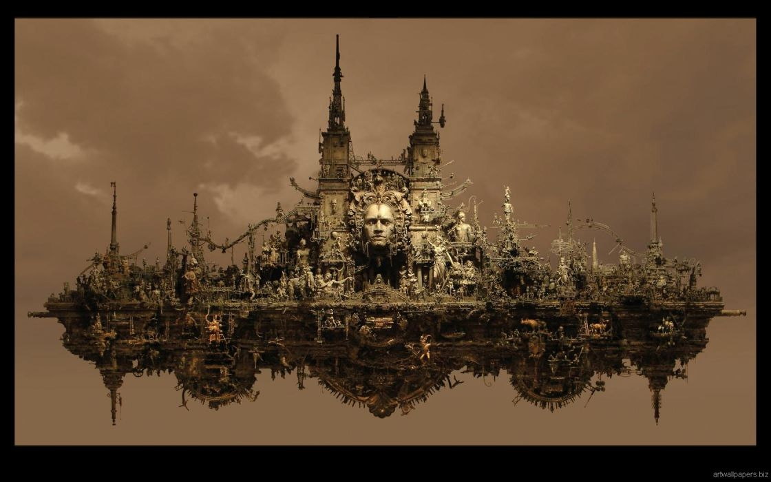 Kris Kuksi Art Sculptures dark sci-fi steampunk     i wallpaper