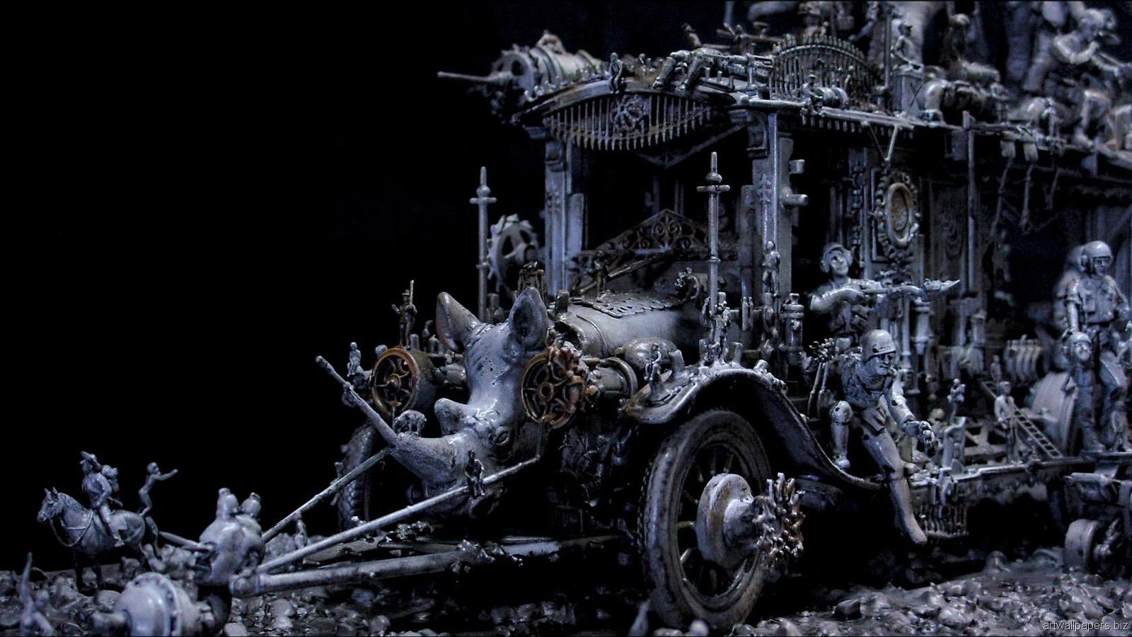 Kris Kuksi Art Sculptures dark sci-fi steampunk l ...