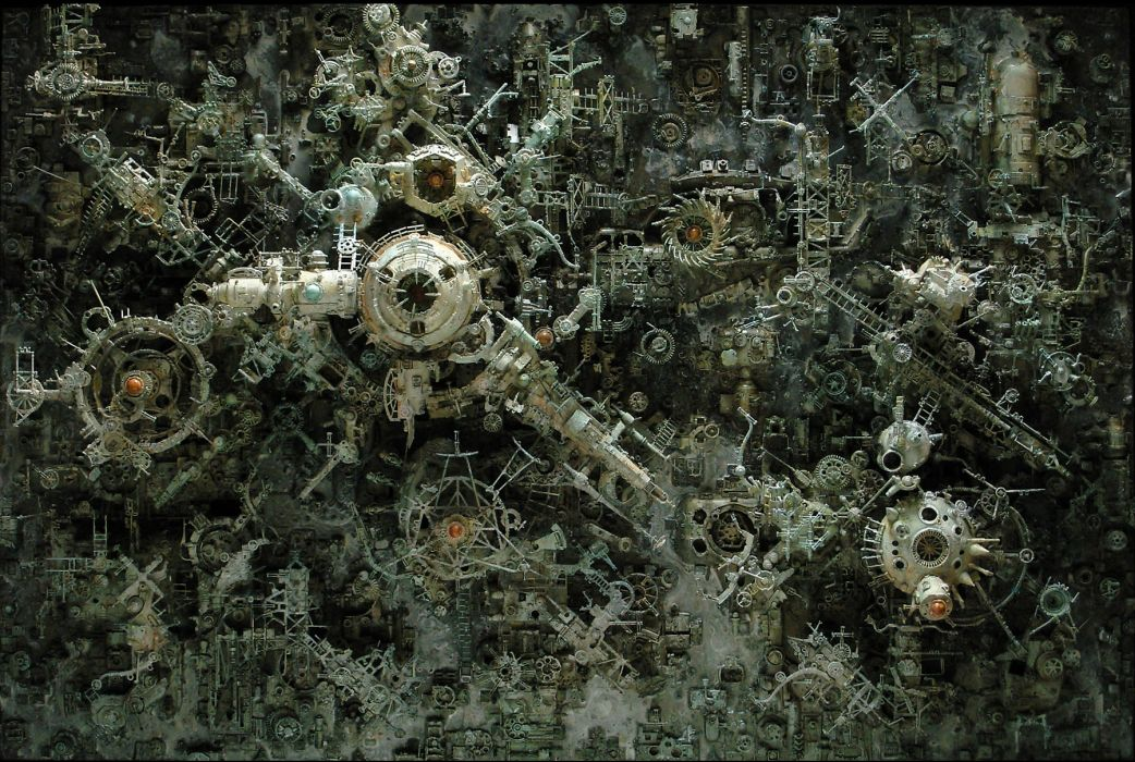 Kris Kuksi Art Sculptures dark sci-fi steampunk     o wallpaper