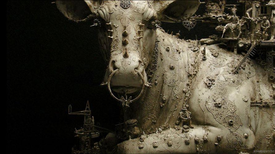 Kris Kuksi Art Sculptures dark sci-fi steampunk x_JPG wallpaper