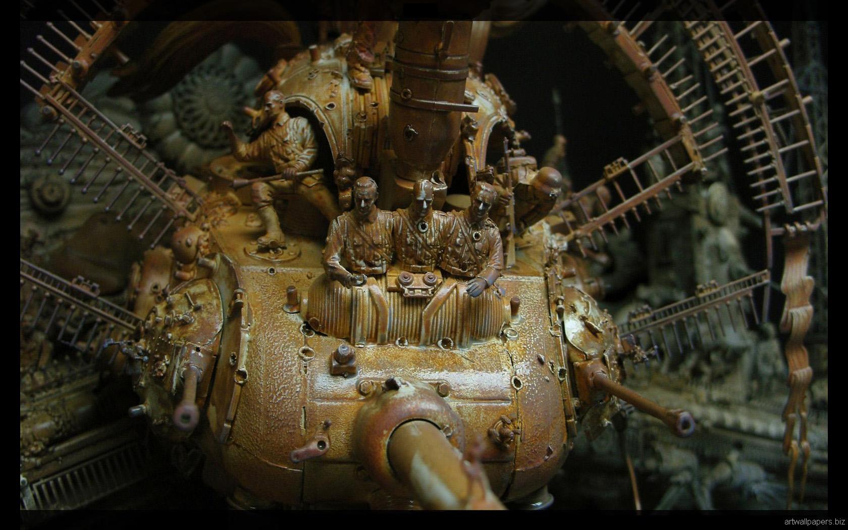 Kris Kuksi Art Sculptures dark sci-fi steampunk y ...