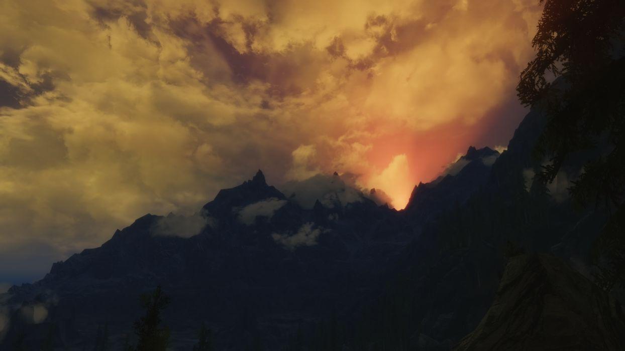 Landscape Sunset CG Clouds Mountains wallpaper