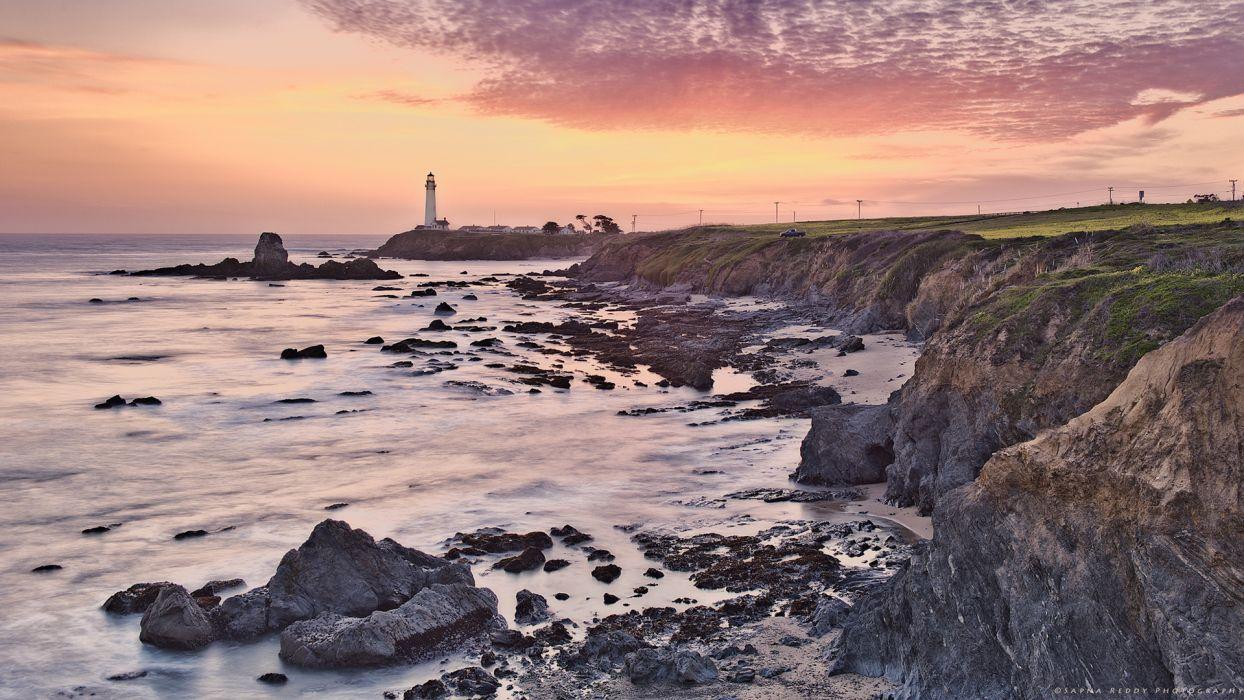Lighthouse Beach Ocean Shore Coast Sunset wallpaper