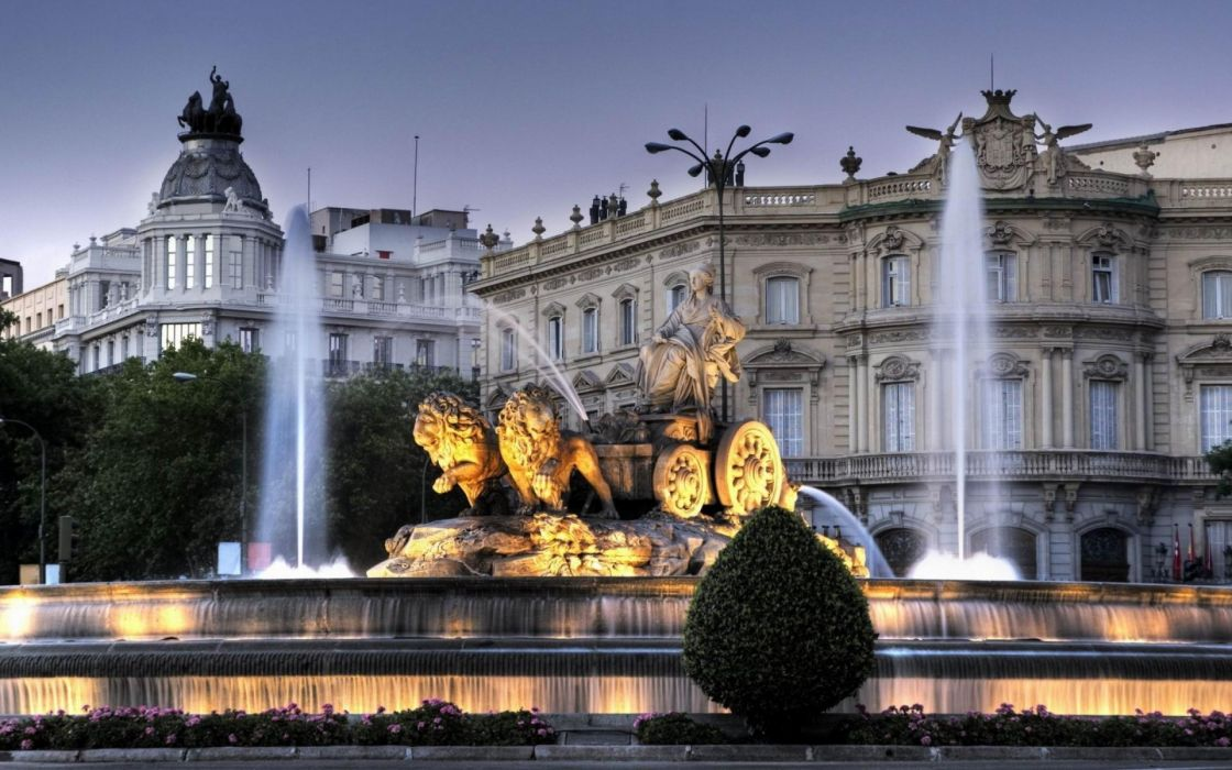 Madrid Spain the fountain the fountain of Cibeles dusk evening a monument of the earth goddess of fertility Cybele the chariot lions Palace Palace of Linares wallpaper