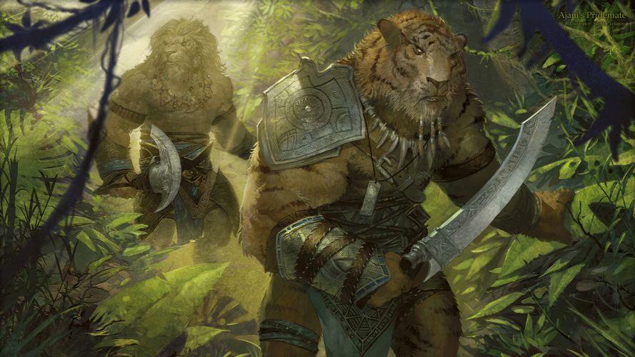 Magic The Gathering Drawing Ajani Warrior Tiger fantasy wallpaper