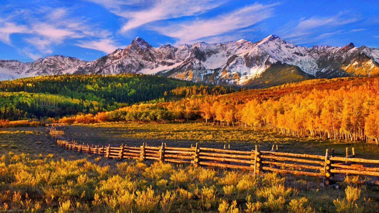 nature landscapes mountains fence autumn wallpaper