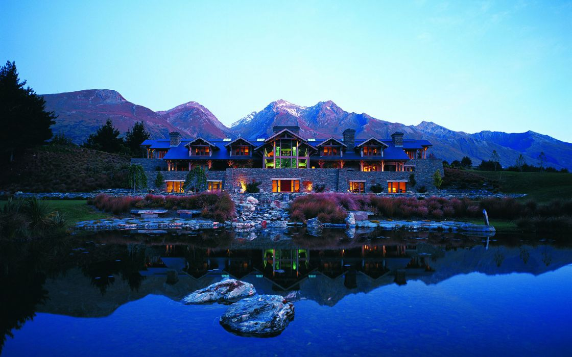 New Zealand Pond Hotel Reflection Mountains Lakes Wallpaper