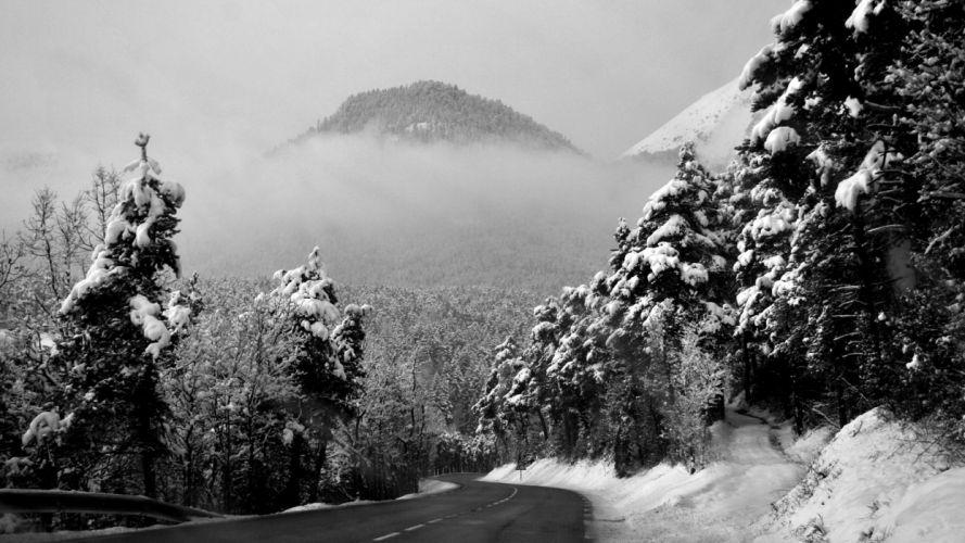 Road Winter Snow Landscape Trees Forest wallpaper