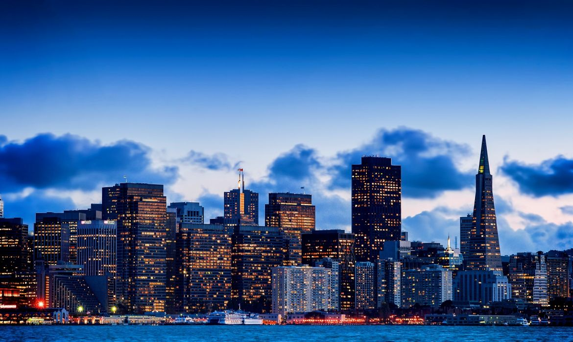 San Francisco California USA Bay evening city sky skyscrapers buildings homes wallpaper