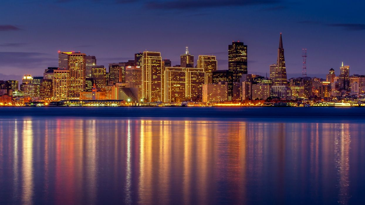 San Francisco California USA San Francisco California USA Gulf reflection night city lights lighting lilac sky skyscrapers buildings homes wallpaper