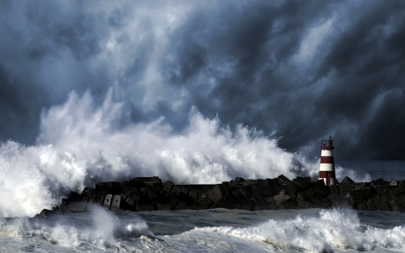 sea lighthouse storm waves wallpaper