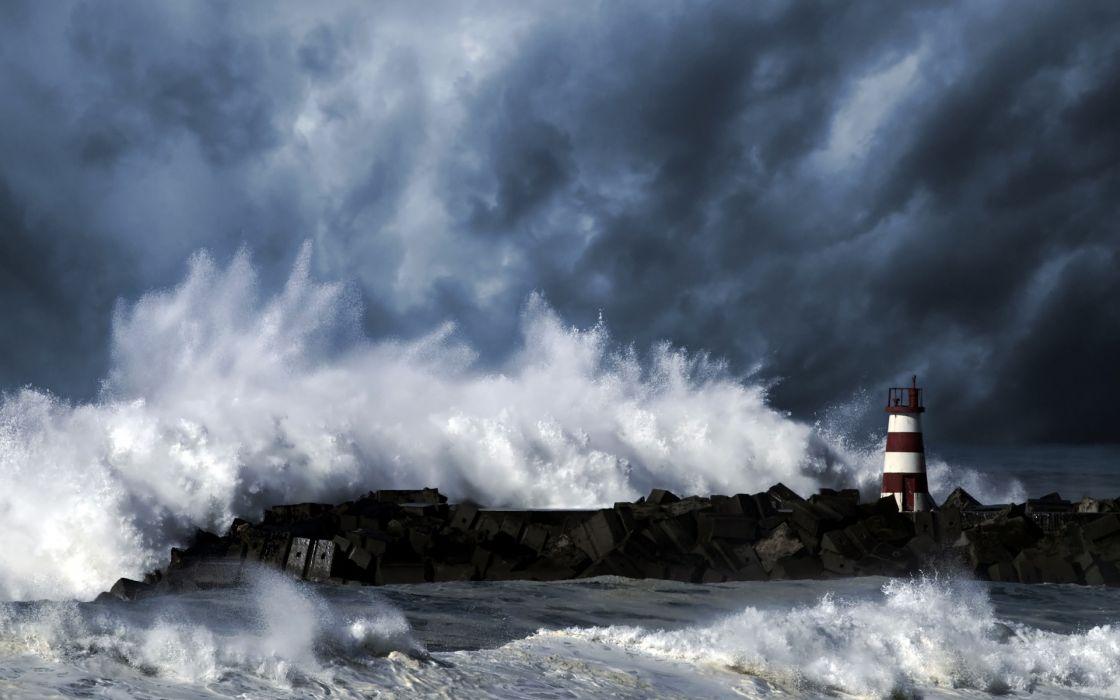 Sea Lighthouse Storm Waves Wallpaper 1920x1200 67786