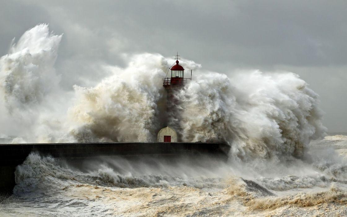 sea lighthouse storm landscape ocean waves     d wallpaper
