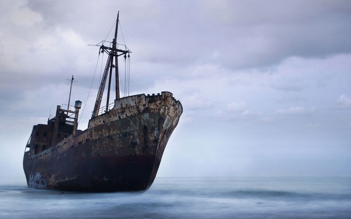 Ship Abandon Deserted Rust Beached Ocean wallpaper