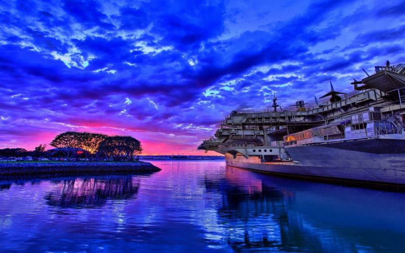 ships reflection hdr sunset wallpaper
