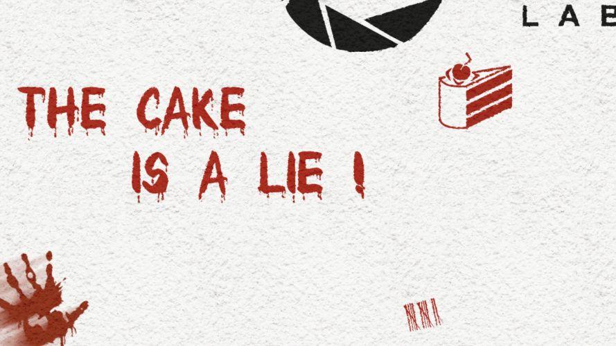 Portal Aperture Cake Lie text wallpaper