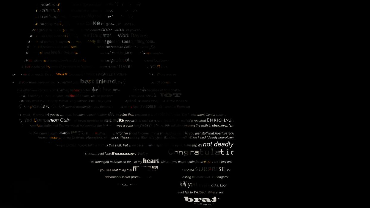 Portal GLaDOS Black Typography text wallpaper