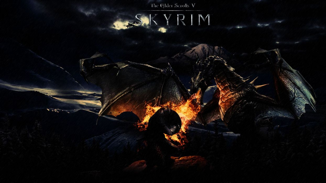 Skyrim Elder Scrolls Dragon Fire wallpaper