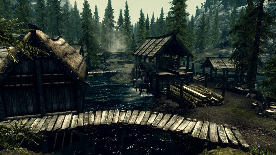 Skyrim Elder Scrolls Watermill Trees wallpaper