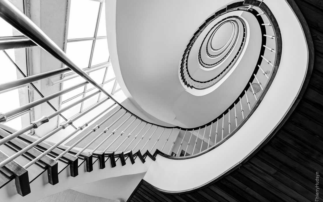 Stairs Staircase BW wallpaper