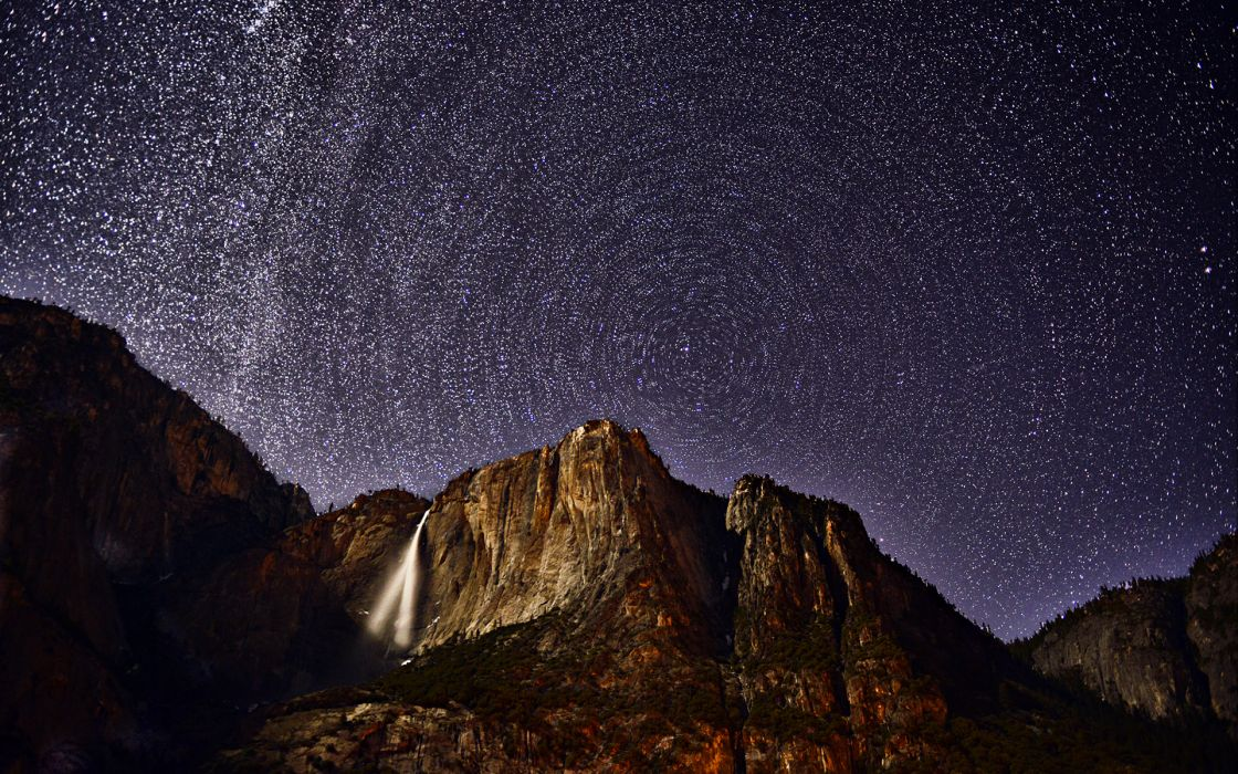 Stars Timelapse Mountains Waterfall Night sky wallpaper