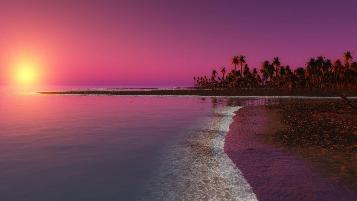 sunset water beach ocean reflection wallpaper