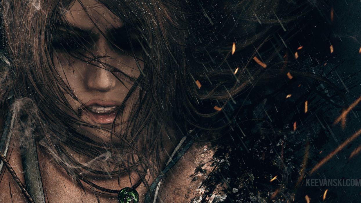 Tomb Raider Lara Croft Brunette Face Drawing wallpaper