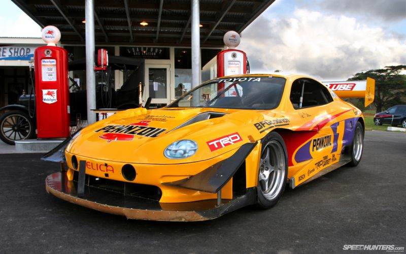 Toyota Celica Race Car Gas Station wallpaper