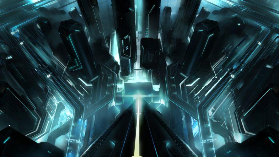 Tron Buildings City sci-fi wallpaper
