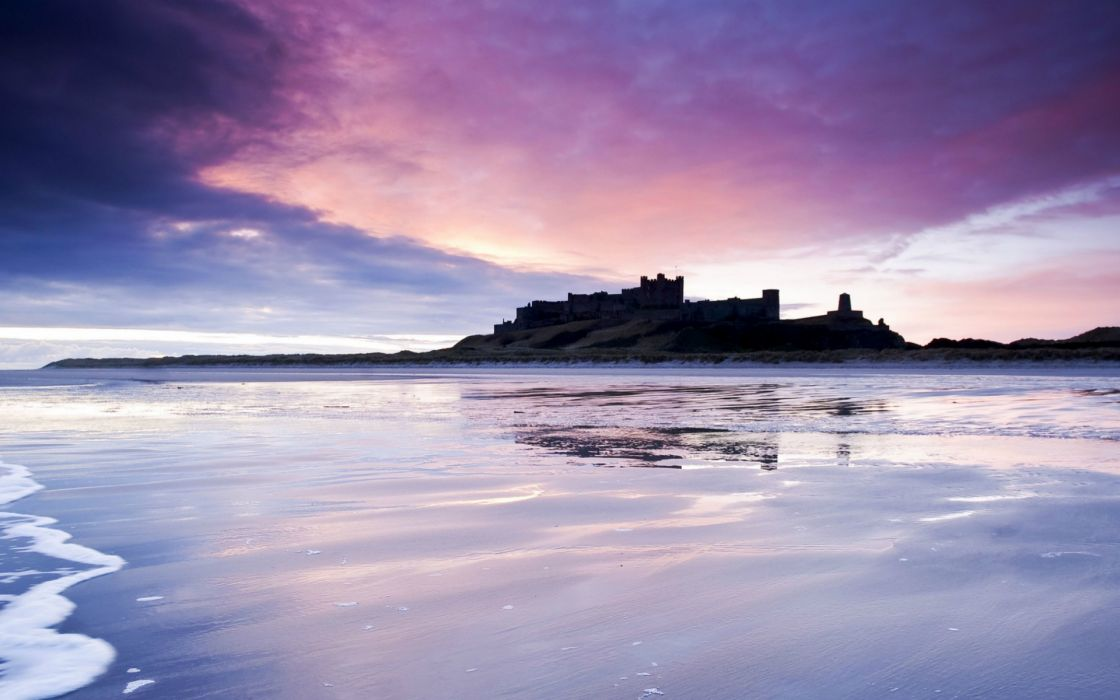 UK England castle sea beach night purple violet sky clouds reflection wallpaper
