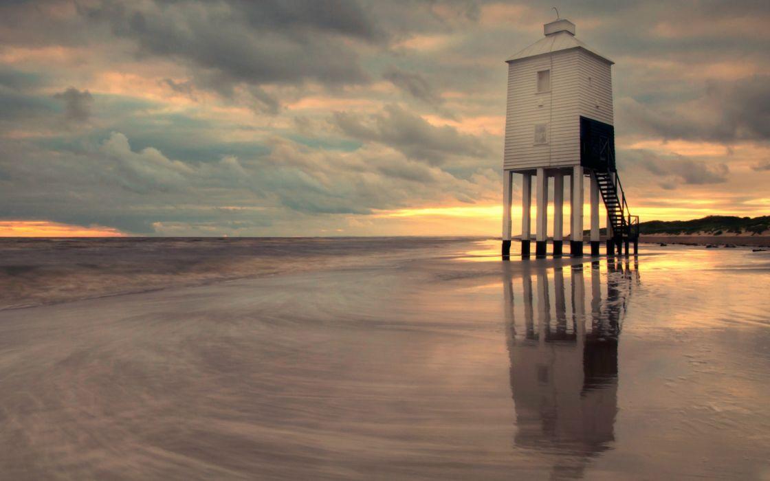 UK England lighthouse beach sea evening sunset sky clouds wallpaper