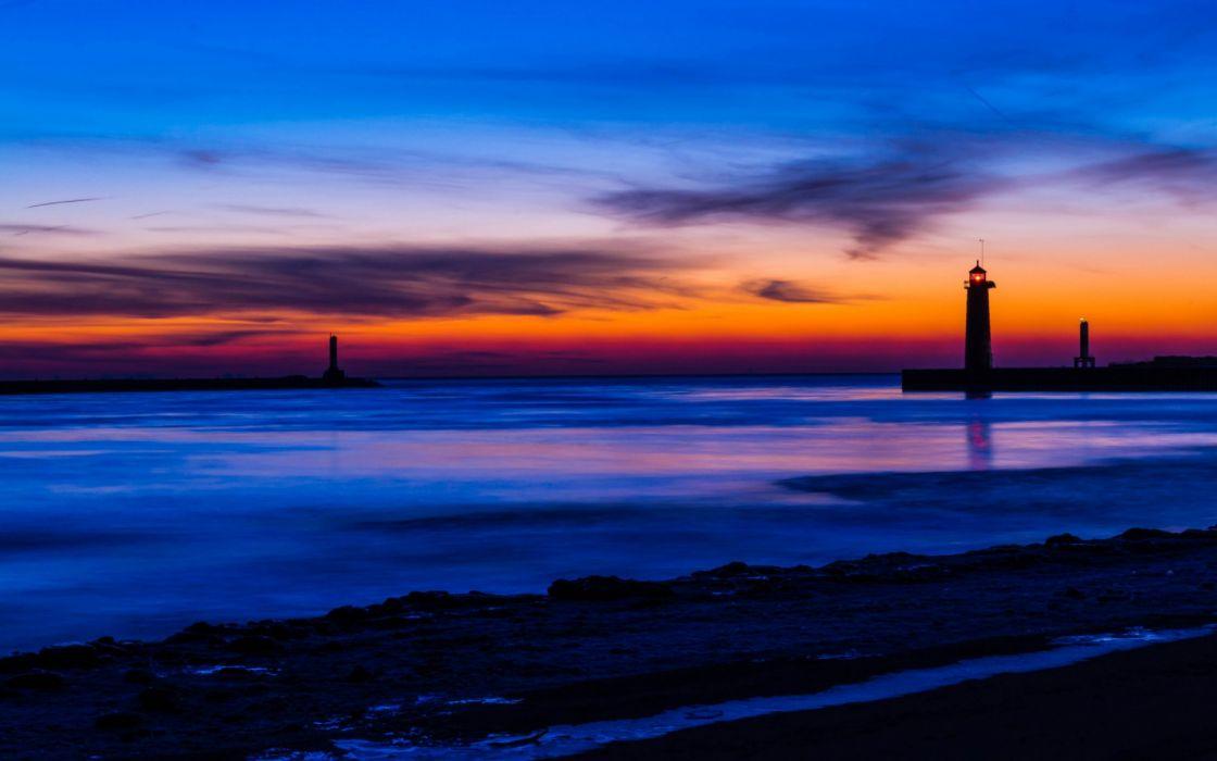 USA Michigan lake beach lighthouse night orange sunset blue sky clouds wallpaper