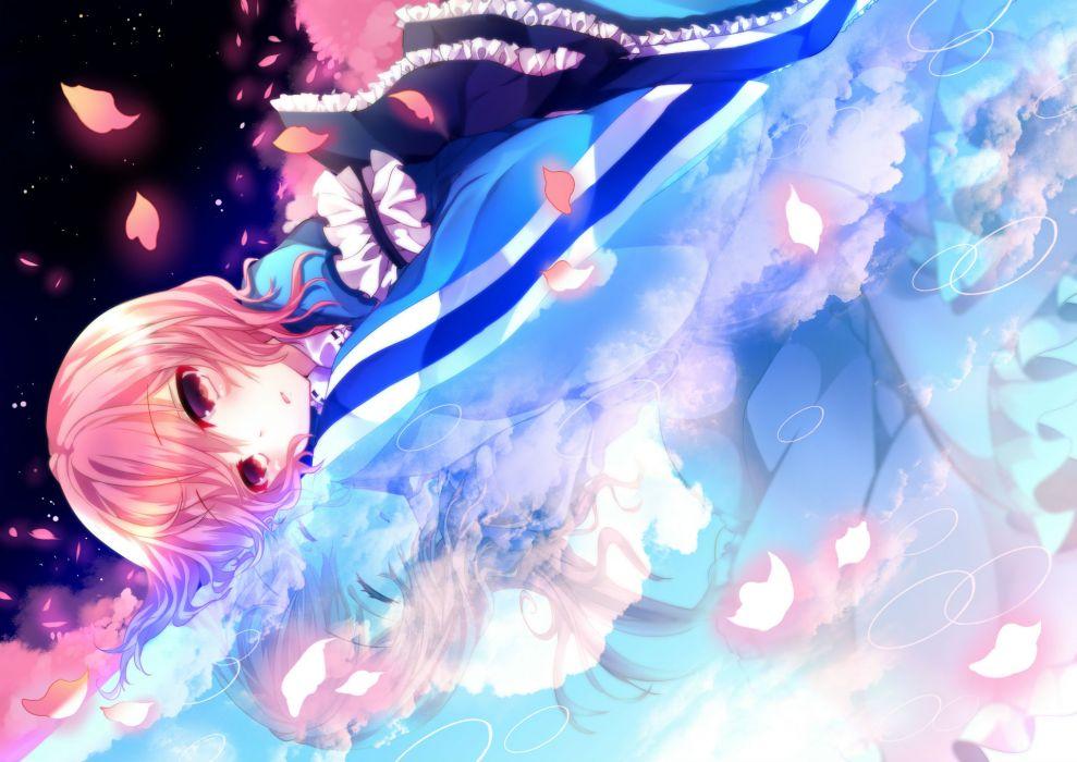 dress kusa petals pink hair red eyes saigyouji yuyuko short hair touhou wallpaper