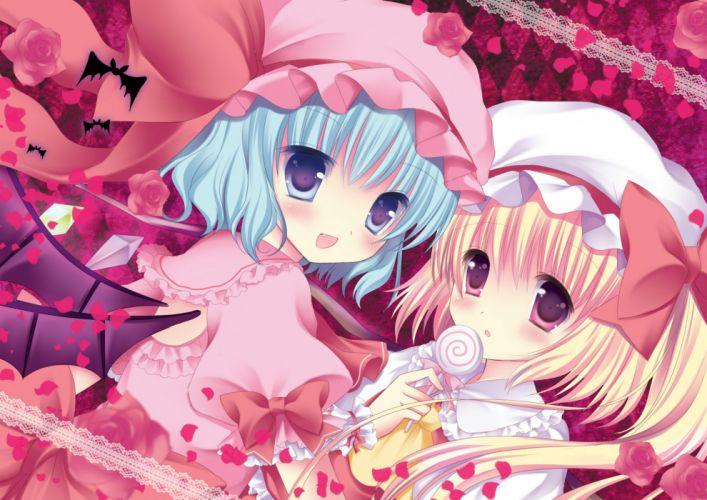 girls animal bat blue eyes blue hair blush bow candy flowers hat lollipop niki petals pink eyes ponytail ribbons rose short hair touhou wings wallpaper