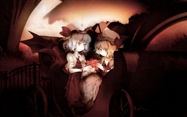girls bow flandre scarlet flowers hat red eyes remilia scarlet short hair touhou vampire wings yoshioka yoshiko wallpaper