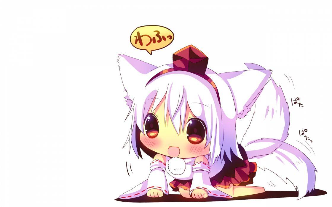 animal ears blush chibi gray hair hina hina inubashiri momiji red eyes short hair tail touhou white wolfgirl wallpaper