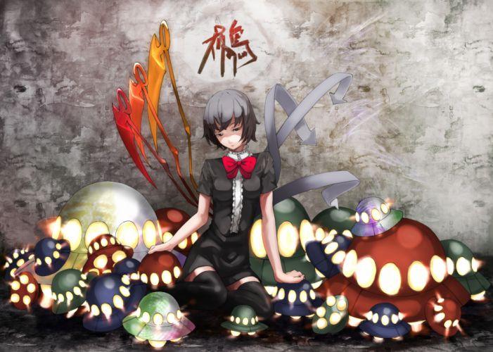 black hair houjuu nue kusakanmuri sawasawa short hair thighhighs touhou wings wallpaper