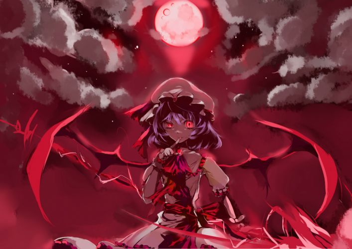 blaze (artist) clouds fang hat moon night purple hair red red eyes remilia scarlet ribbons short hair sky spear touhou weapon wings wallpaper
