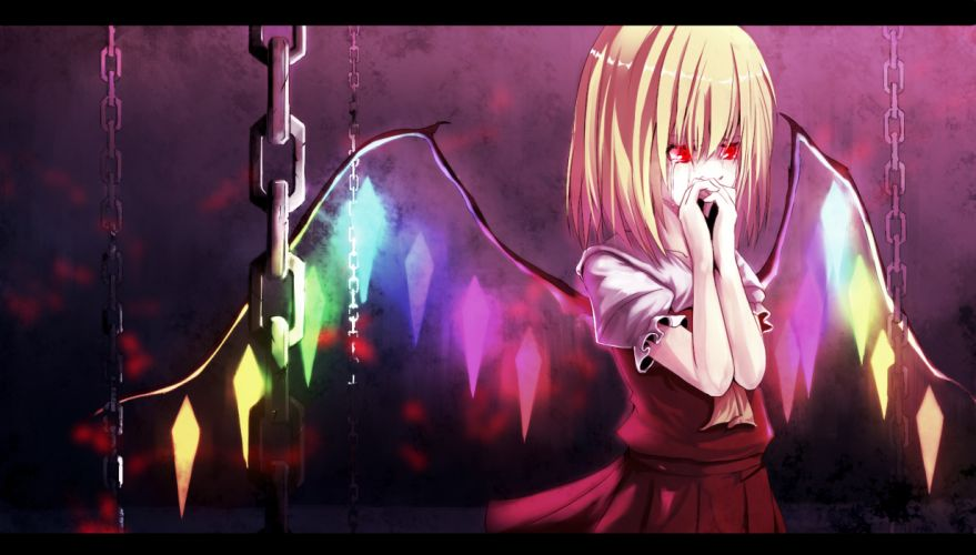 blonde hair canae0 chain flandre scarlet red eyes tears touhou wings wallpaper