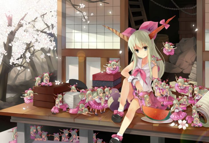 blue eyes cherry blossoms chibi food gray hair horns ibuki suika petals touhou wink wallpaper