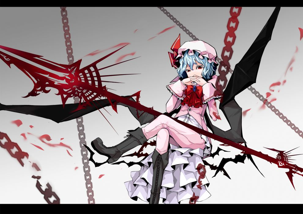 blue hair boots bow chain hat red eyes remilia scarlet short hair sindre touhou vampire weapon wings wallpaper