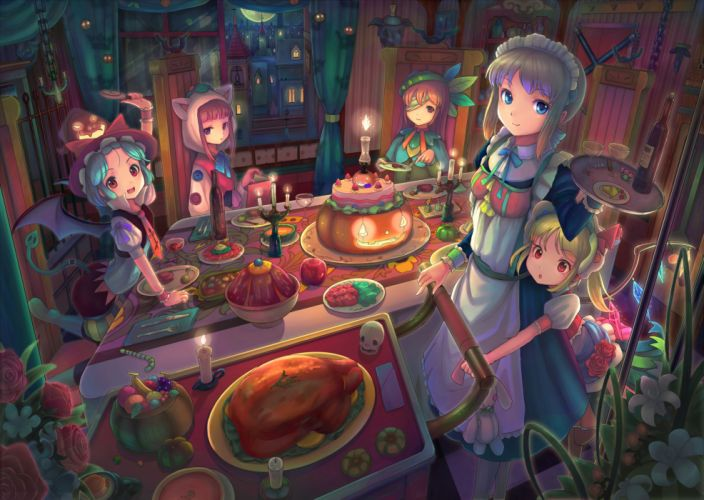 blue hair book bow cake dress drink flowers food fruit gray hair hat maid moon night red eyes red hair ribbons rose tail touhou vampire wings wallpaper