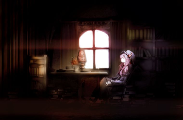 book dress hat patchouli knowledge purple hair touhou yoshioka yoshiko wallpaper