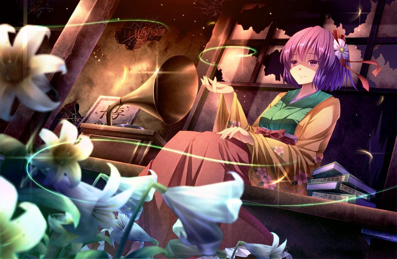 book flowers hieda no akyuu japanese clothes kimono purple eyes purple hair ryosios short hair touhou wallpaper