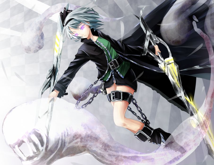boots bow chain gray hair konpaku youmu purple eyes reio (reio reio) sword touhou weapon wallpaper